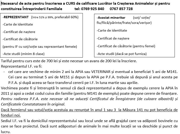 Necesarul de acte pentru înscrierea a CURS de calificare Lucrător la Creșterea Animalelor și pentru constituirea Întreprinderii Familiale