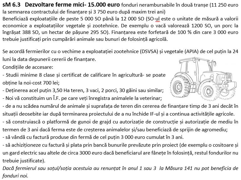 sM 6.3   Dezvoltare ferme mici– 15.000 euro fonduri nerambursabile în două tranșe (11 250 euro la semnarea contractului de finanțare și 3 750 euro după maxim trei ani)
